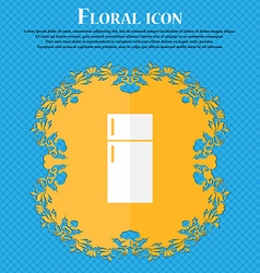 Refrigerator icon sign Floral flat design on a vector
