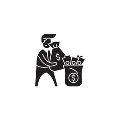 rich man black concept icon rich man flat vector image