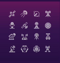satellite and orbit communication thin line icons vector image
