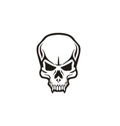 scary tattoo skull skeleton head teeth horror logo vector image