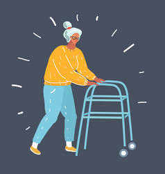 senior woman with walker vector image