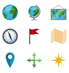 Set geo icons geographical school pictograms vector