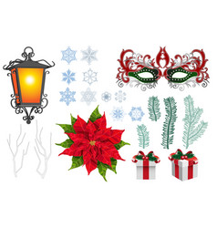 set of christmas xmas engraved objects vector image
