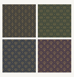 set of seamless vintage flourishes pattern vector image