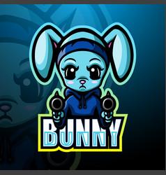 Shooter bunny mascot esport logo design vector