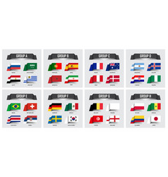 Soccer cup 2018 set of national flags team group vector