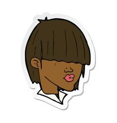 Sticker a cartoon fashion haircut vector