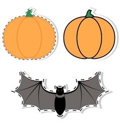 sticker pumpkin and bat vector image