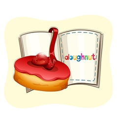 Strawberry donut and a book vector image