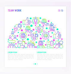 Teamwork concept in half circle vector