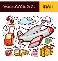 travel doodles icon set vector image