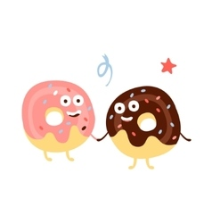 Two Doughnuts Holding Hands Children Birthday vector image