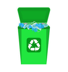 used face mask and latex glove in waste bin vector image