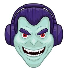 Vampire with headphones vector