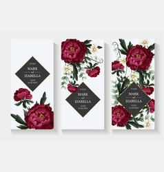 wedding invitation with burgundy peonies vector image