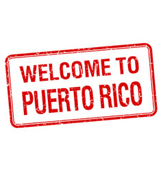 Welcome to puerto rico red grunge square stamp vector