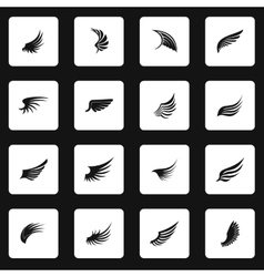 Wing icons set simple style vector image