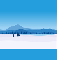 winter day landscape mountains woodland frosen vector image