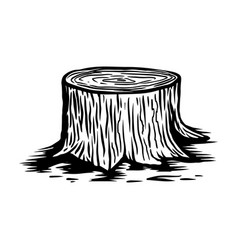 Wood stump in engraving style design element for vector