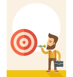 Working man holding a target arrow vector