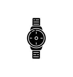 Wrist watch black glyph icon vector