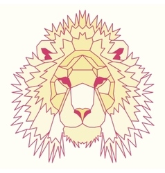 Yellow low poly lined lion vector