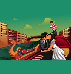 young couple kissing on boat vector image