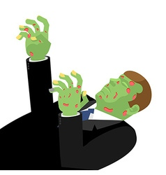 Zombie with outstretched hands isolated Green is vector