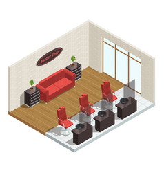 barber shop isometric interior vector image