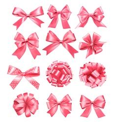 Big set of pink gift bows and ribbons vector image vector image