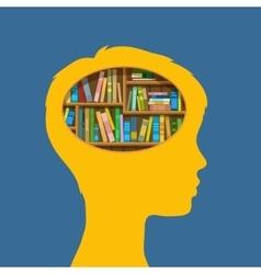Book shelf in form of head vector