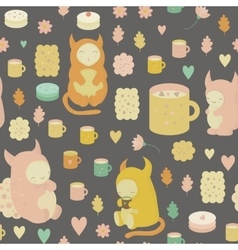 Childish seamless background with monsters vector image vector image