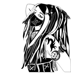 cyberpunk girl ink sketch vector image