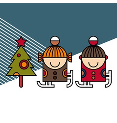 Ice skating kids and Christmas tree vector image vector image
