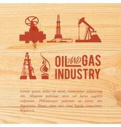 Industry icons pained over wood vector image vector image