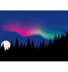 vector aurora polaris over forest vector image vector image