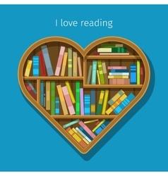 Book shelf in form of heart vector