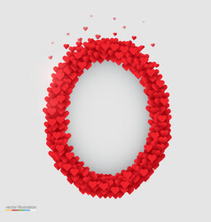 oval photo frame made of many hearts vector image vector image