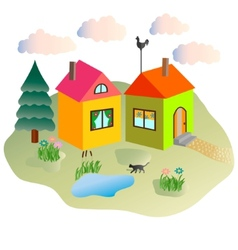 rural lodges summer clouds and the cat walking in vector image