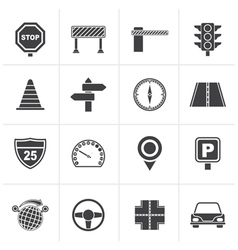 Black road and traffic icons vector