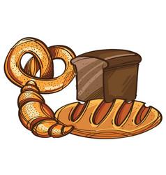 set of bread pretzel croissant isolated on white vector image