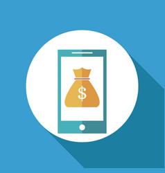 smartphone bag money online banking vector image vector image