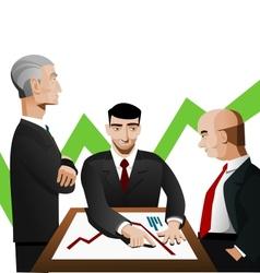 Three businessmen discussing diagram vector image vector image