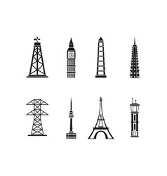 tower icon set simple style vector image vector image