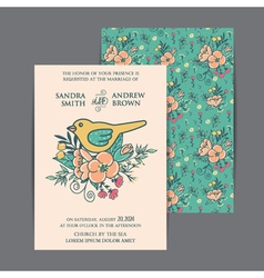 wedding invitation with bird and flowers vector image vector image