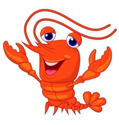 Cute lobster cartoon presenting vector image