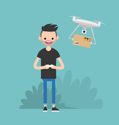Drone delivery service young character vector