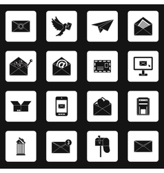 Email icons set simple style vector image