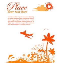 grunge summer card with starfish airplane element vector image