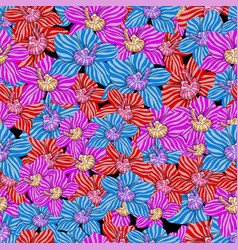 pattern of orchids drawing vector image